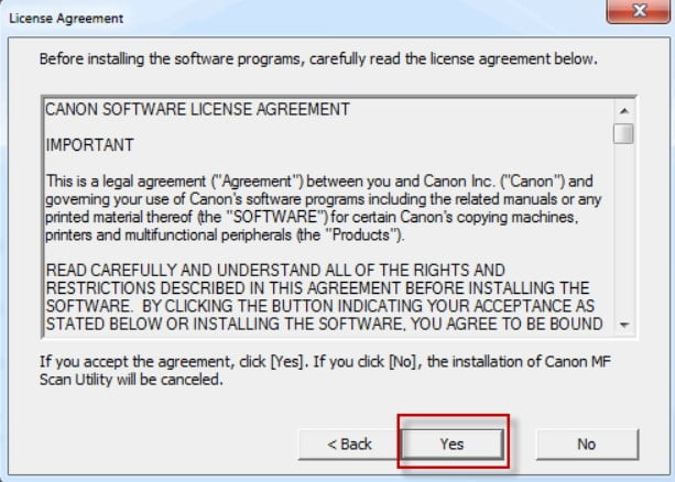 Click [Yes] to agree to the license.